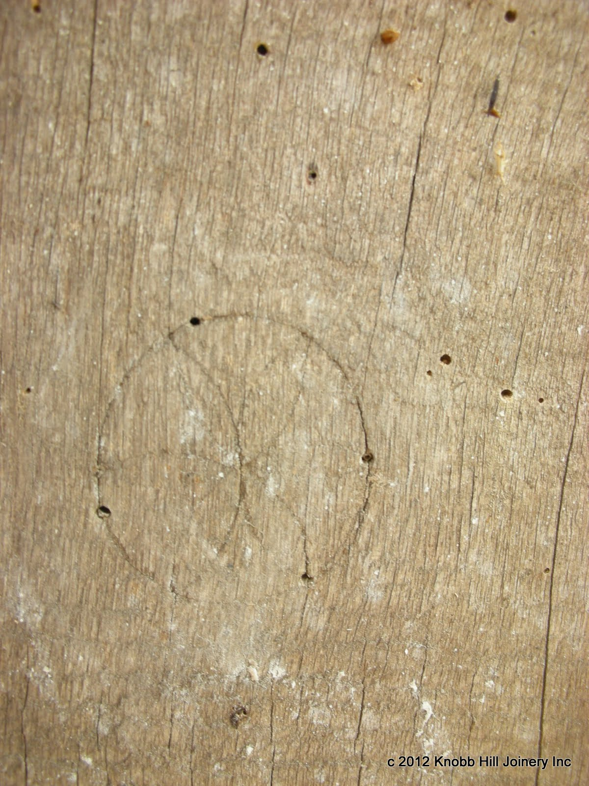 Quarter sized daisy wheels were also used as a pair of marriage marks in a drive post and tie beam.