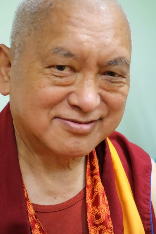 Lama Zopa Rinpoche at Light of the Path retreat, Black Mountain, North Carolina, US, May 2014. Photo by Ven. Roger Kunsang.