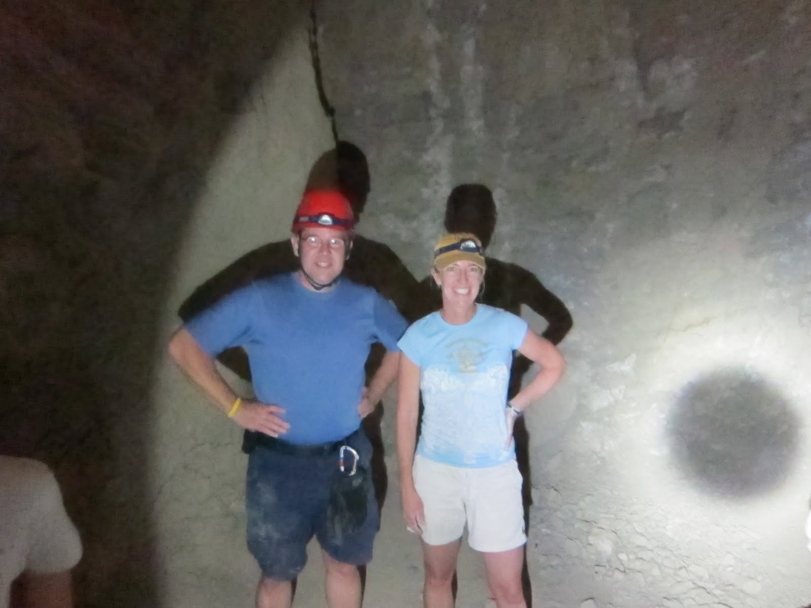 Tom and mary inside the large room at the end of Plunge Pool Cave