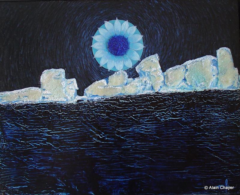 090 - Banquise Bleue - 1998 24 x 30 - Huile sur toile