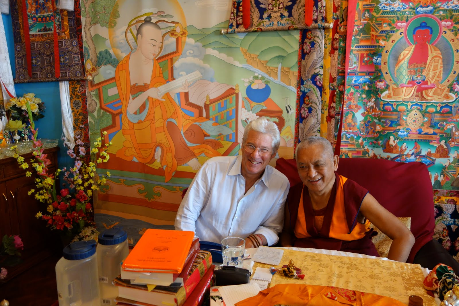 Rinpoche and Richard Gere in Kopan where they had lunch together. Rinpoche was telling lots of old stories about meditators & Dharma practitioners. The stories went on for a long time, interspersed with lots of laughter. Photo by Ven. Roger Kunsang.