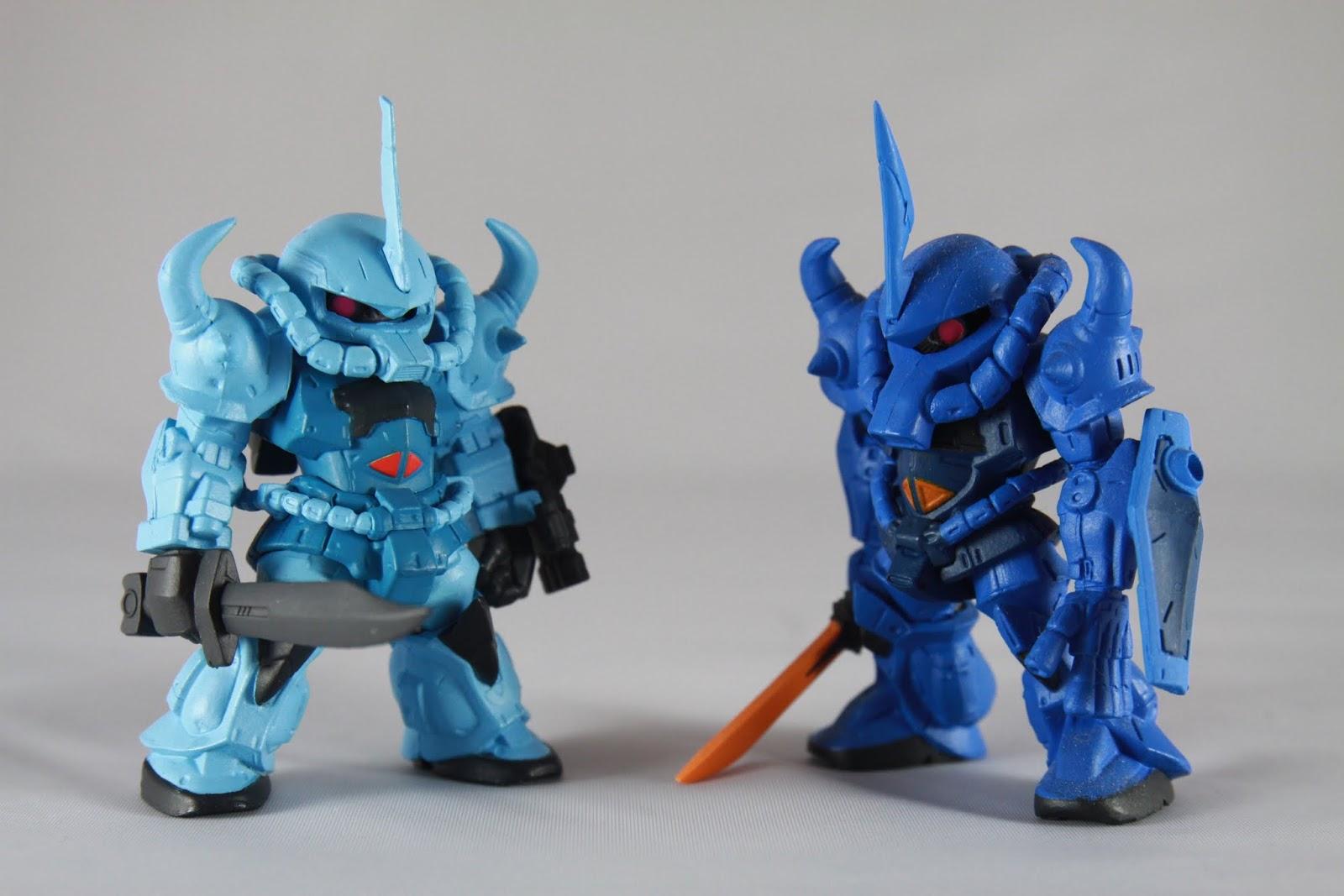 跟原型機比較 右邊你根本是章魚哥吧~ 話說Gouf 跟 Zaku的設計絕對都有改過 因為初期的這兩隻那個排氣口都像這樣這麼長 說實在~我不是很喜歡章魚哥這個角色