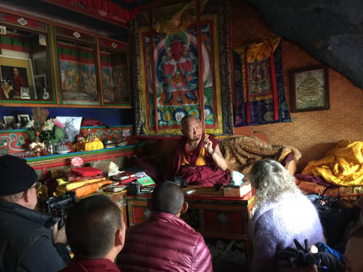Lama Zopa Rinpoche teaching in his cave at Lawudo Retreat Centre, Nepal, April 2015. Photo by Ven. Roger Kunsang.