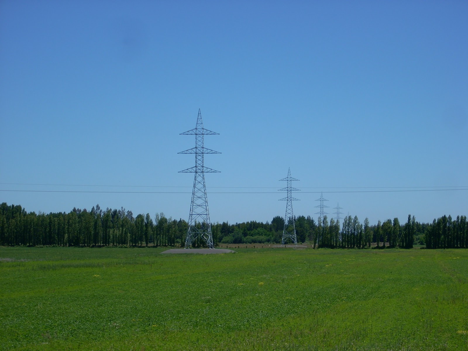 You don't often see a huge long string of pylons with no power cables