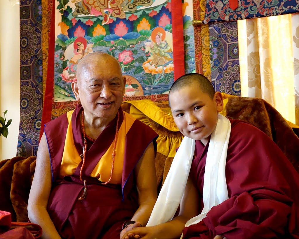 Lama Zopa Rinpoche with Tenzin Phuntsok Rinpoche, Kopan Monastery, Nepal, December 2014. Photo by Ven. Roger Kunsang.