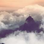 Cristo shows himself for a few seconds to the crowd on Sugar Loaf mountain