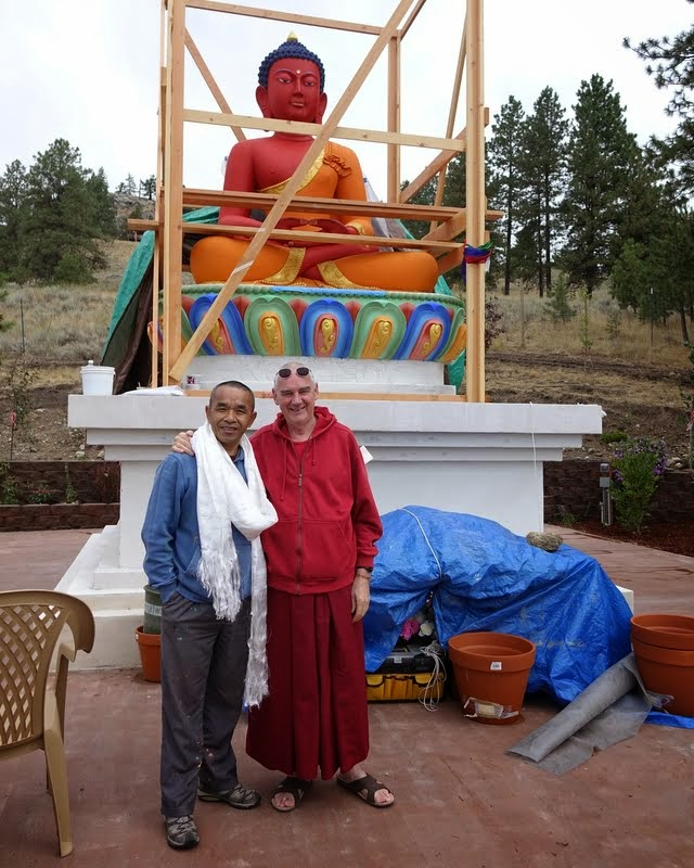 Gelek Sherpa and Ven. Roger Kunsang after opening the buddha statue's eyes at Buddha Amitabha Pure Land, Washington, US, August 2014. Photo by Ven. Holly Ansett.