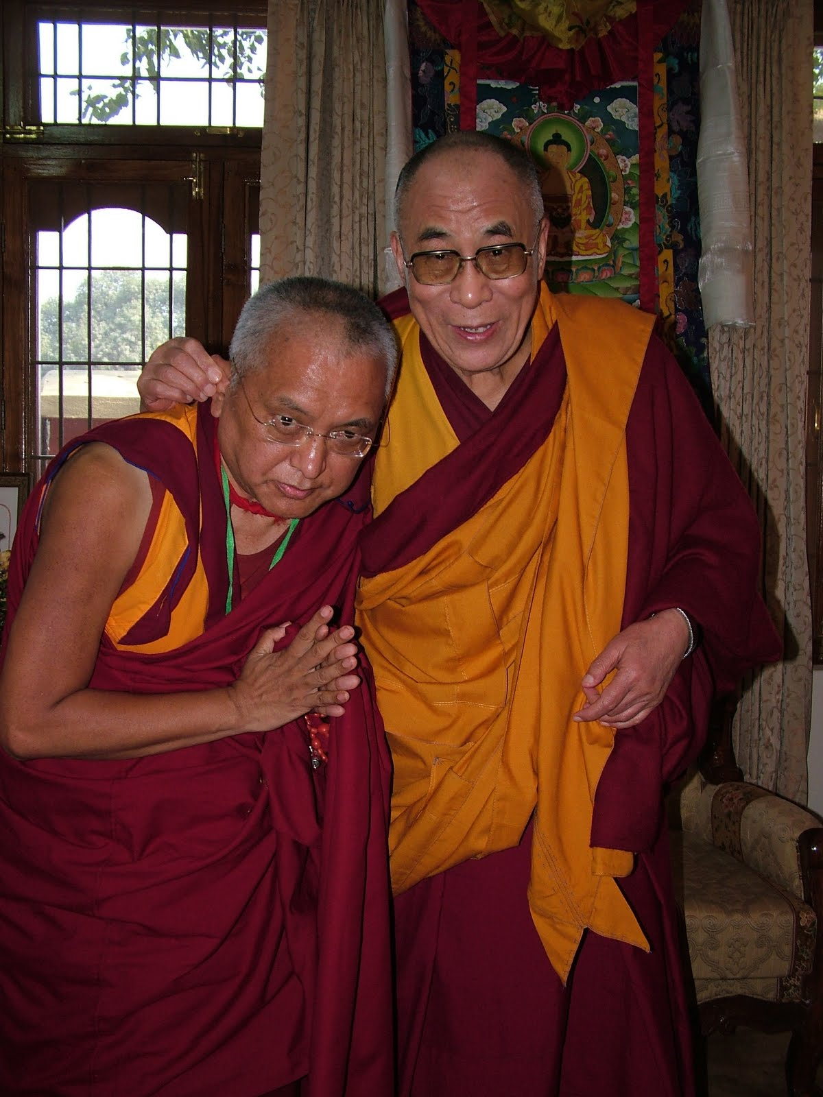 Lama Zopa Rinpoche with His Holiness the Dalai Lama, just before long life puja offered in Saranath January 2008.
