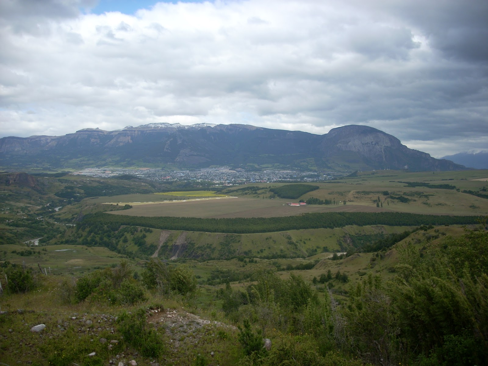 Looking down to Coyhaique. Long downhill to town...and a nasty uphill just before getting there