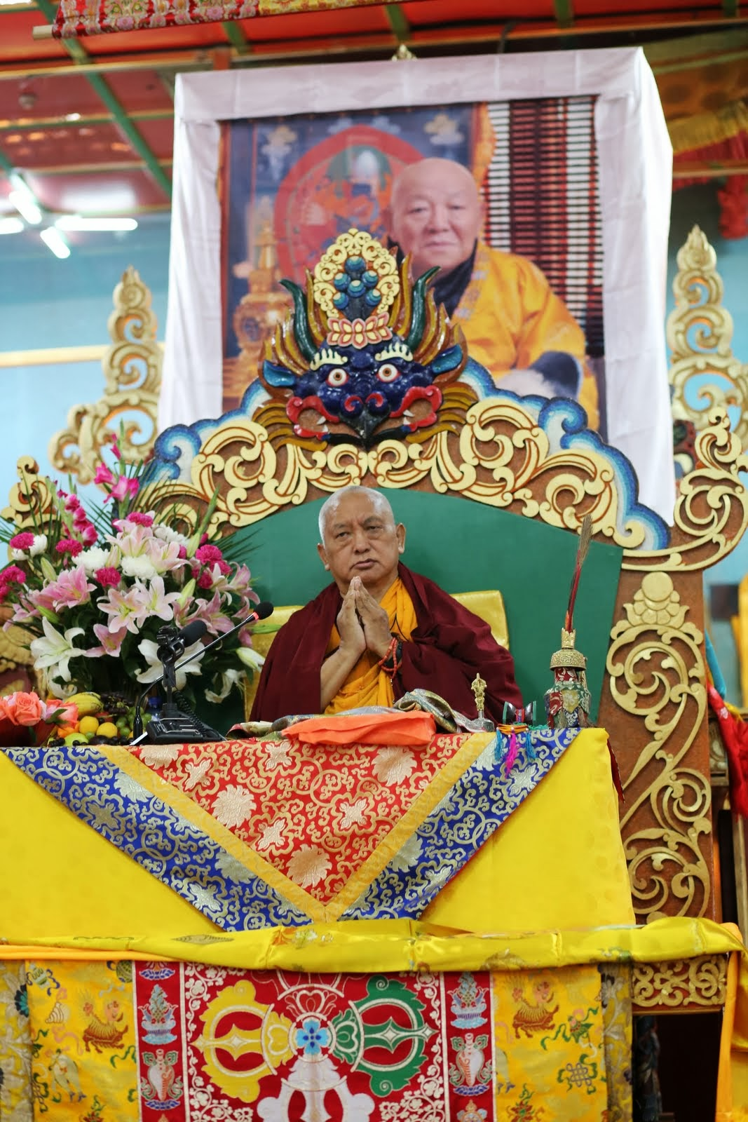 August 2013: Lama Zopa Rinpoche teaching at the 100 Million Mani Retreat in Mongolia.