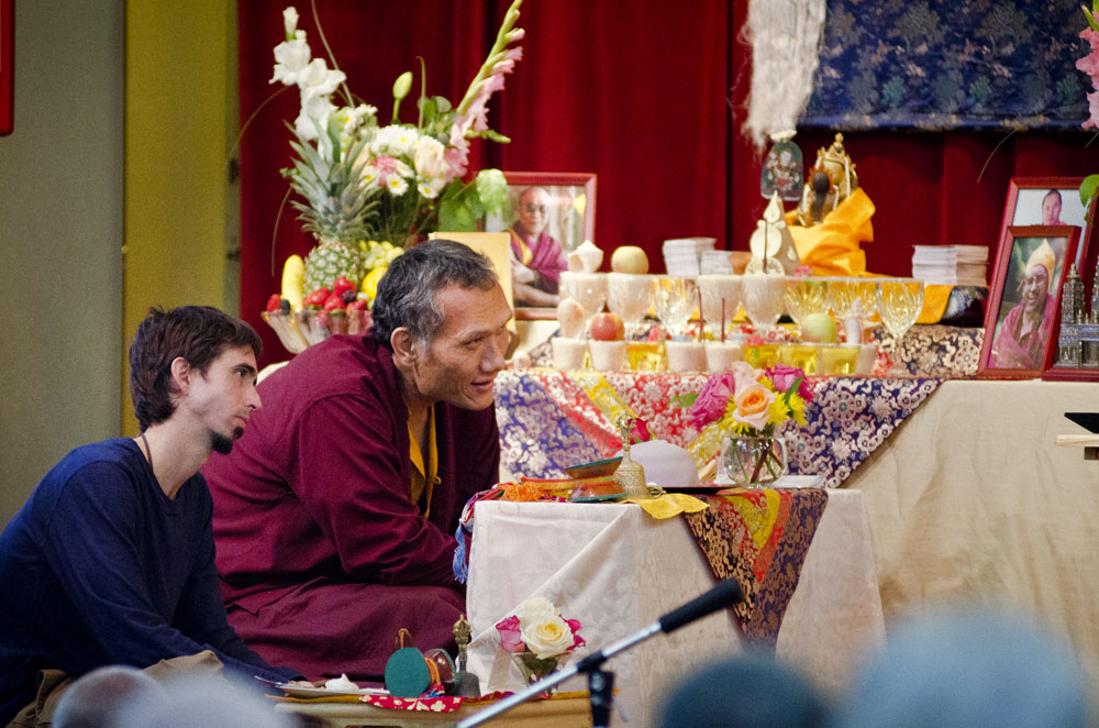 Osel, with Yangsi Rinpoche atteding Vajrasattva initiation with Lama Zopa Rinpoche Sep 2012