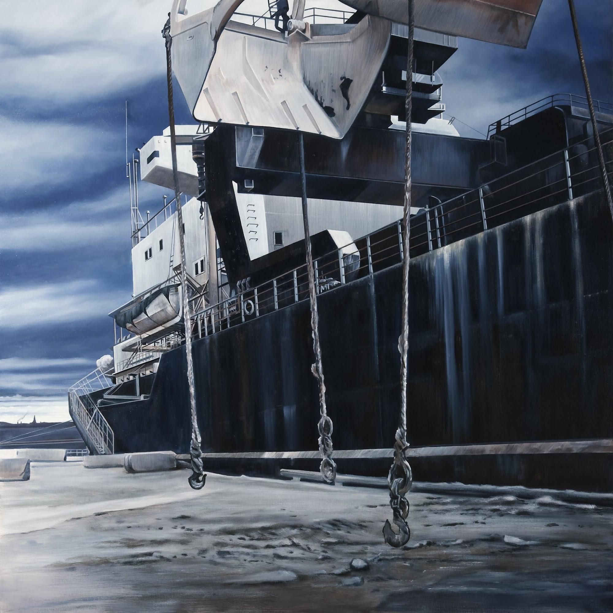 Einsam im Hafen der Sehnsucht   2009   Oel auf Leinwand   170 x 170 cm