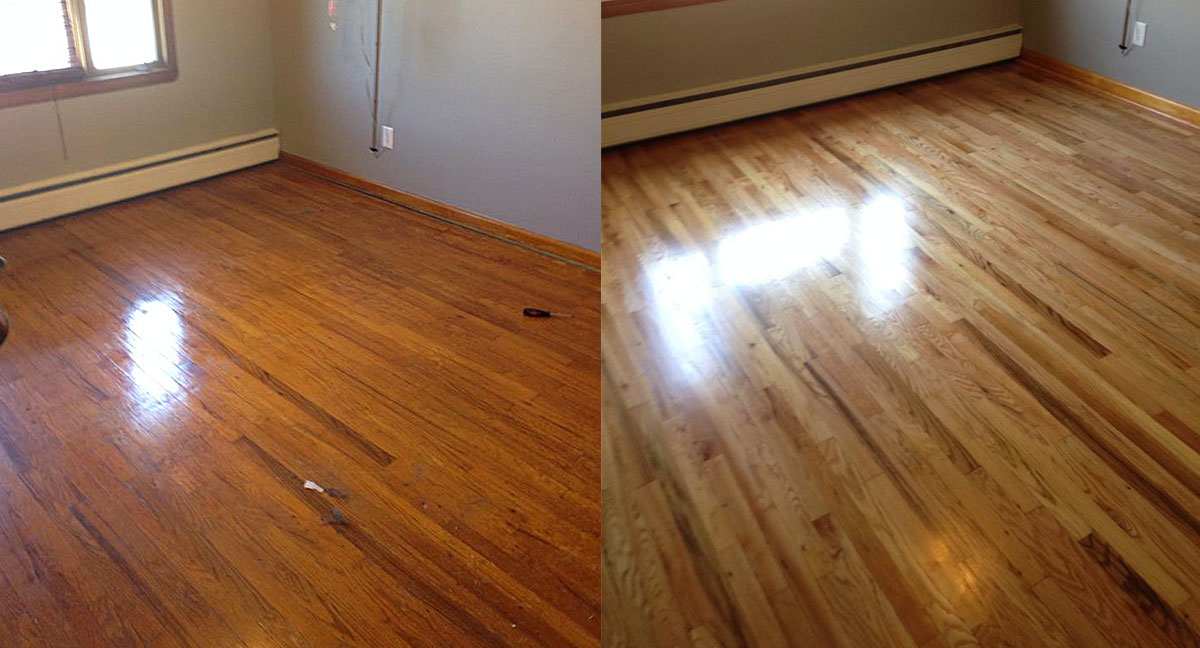 Refinished hardwood before & after