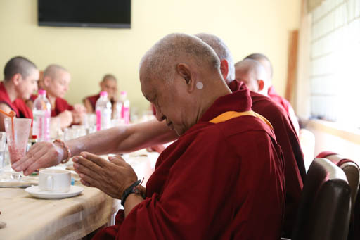 Lama Zopa Rinpoche and Sangha members have lunch in Bangalore, India, January 2015. Photo by Ven. Thubten Kunsang.