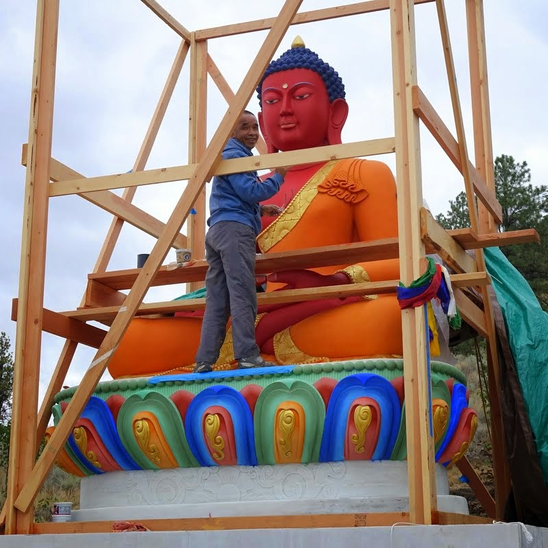 Gelek Sherpa after opening the buddha statue's eyes at Buddha Amitabha Pure Land, Washington, US, August 2014. Photo by Ven. Roger Kunsang.
