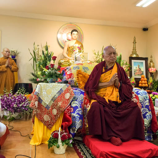 Lama Zopa Rinpoche teaching at Minh Dang Quang Temple, a Vietnamese temple in the Western suburbs of Sydney, Australia, June 2015. Photo by Ven. Roger Kunsang.