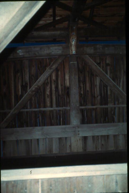 King post in the Big Eddy Bridge.