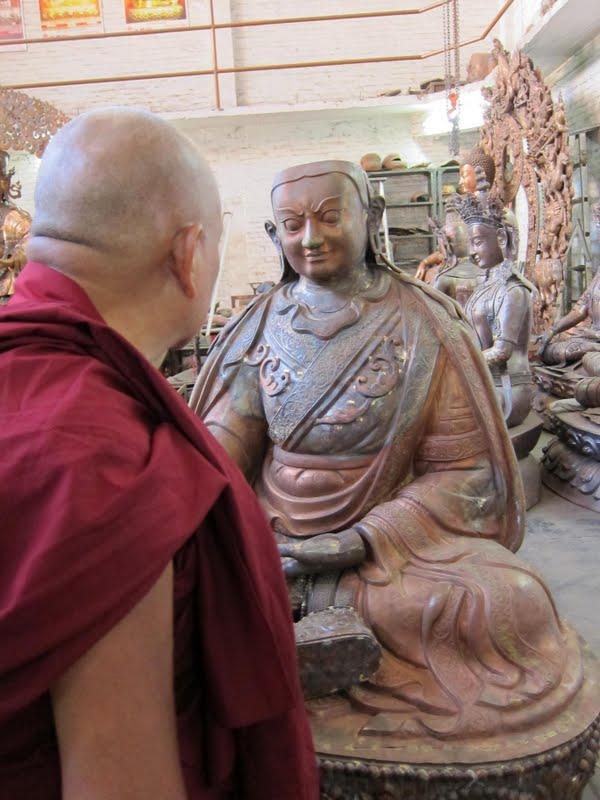 Lama Zopa Rinpoche checking the progress of the Padmasambhava statues for Lawudo