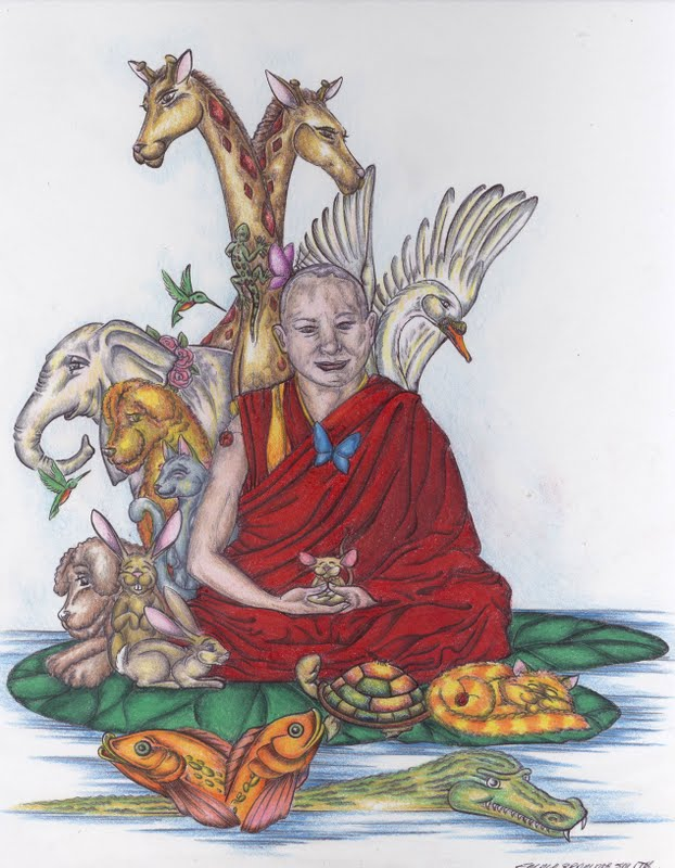 Lama Zopa Rinpoche with his animal friends. Drawing by Emma Bramma Smith.