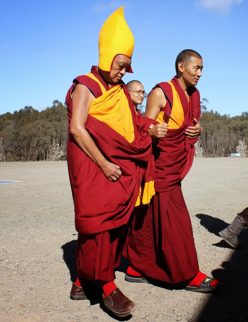 Lama Zopa Rinpoche arriving at long life puja at Great Stupa of Universal Compassion, Australia, September 19, 2014. Photo by Laura Miller.