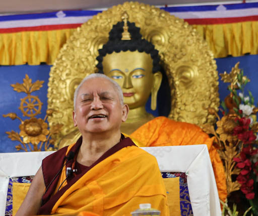 Lama Zopa Rinpoche teaching at Tushita Mahayana Meditation Centre, Delhi, India, January 2015. Photo by Ven. Thubten Kunsang.