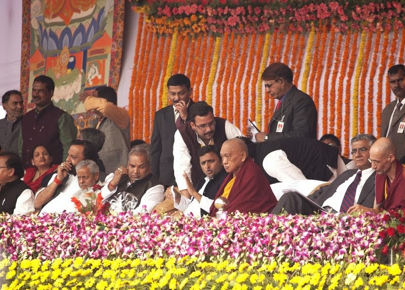 Dignitaries at Maitreya Project Foundation Stone Laying Ceremony, including Uttar Pradesh Chief Minister Akhilesh Yadav with Lama Zopa Rinpoche, Kushinagar, India, December 13, 2013. Photo by Andy Melnic.