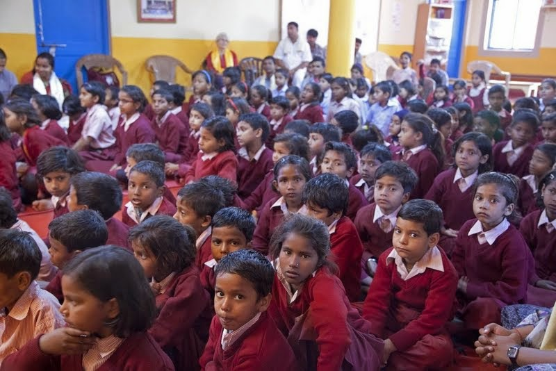 Children from Maitreya School and Tara Children's Home at Root Institute, Bodhgaya, India, March 2014. Photo by Andy Melnic.