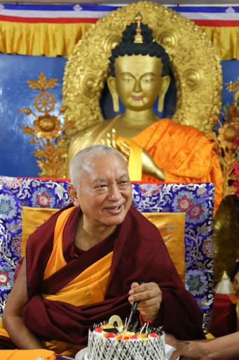Lama Zopa Rinpoche at Tushita Mahayana Meditation Centre, Delhi, January 2015. Photo by Ven. Thubten Kunsang.