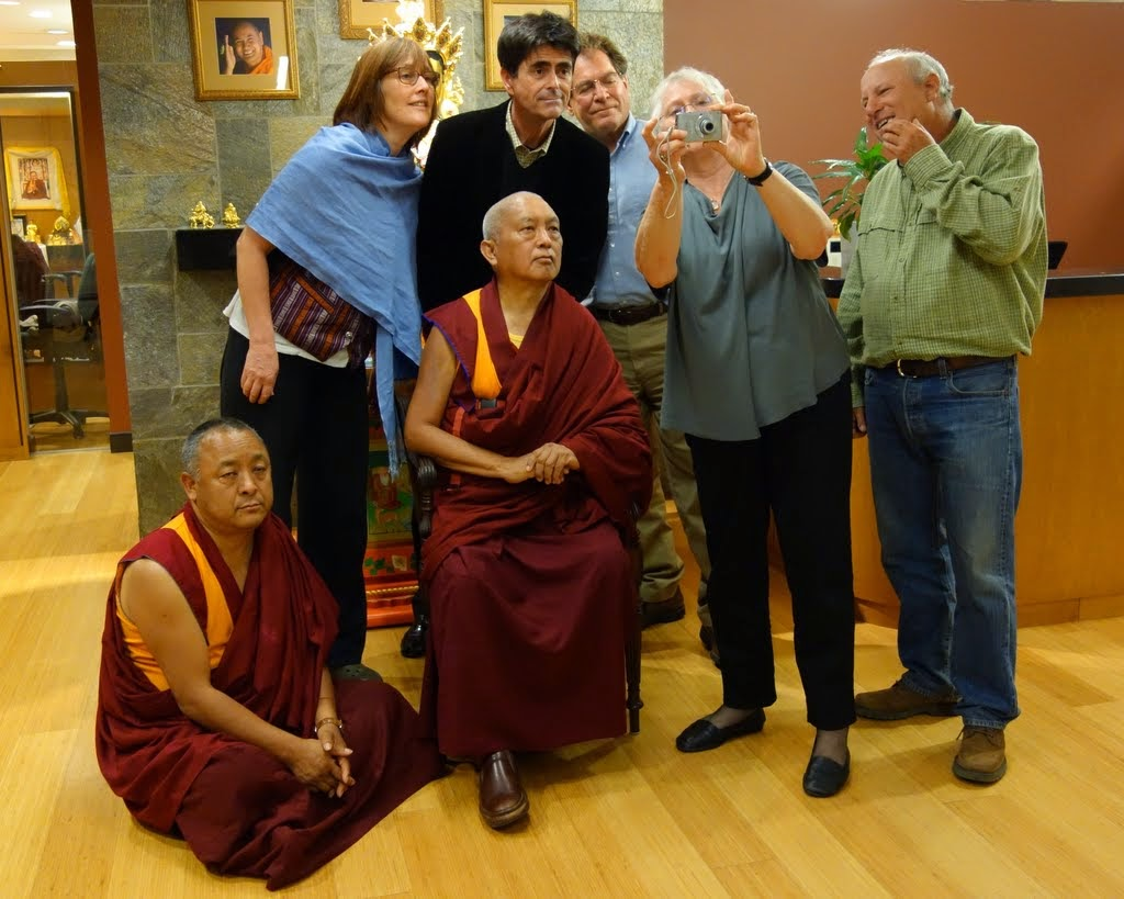 Lama Zopa Rinpoche with some of the FPMT Board of Directors (from left) Ven. Pemba Sherpa, Alison Murdoch, Tim McNeill, Stephen Meyer (who is not on the board), Paula de Wijs-Koolin, Karuna Cayton, FPMT Internation Office, Portland, Oregon, US, April 2014. Photo by Ven. Roger Kunsang.