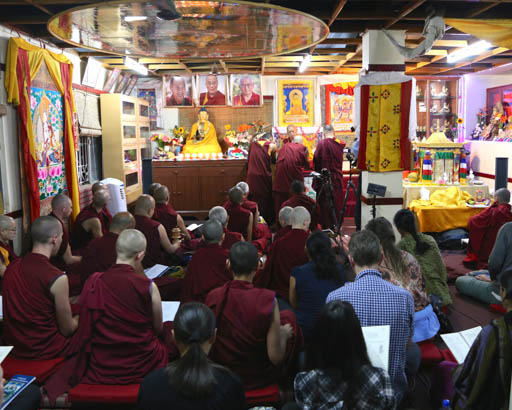 Lama Zopa Rinpoche at Choe Khor Sum Ling, Bangalore, India, January 2015. Photo by Ven. Thubten Kunsang.