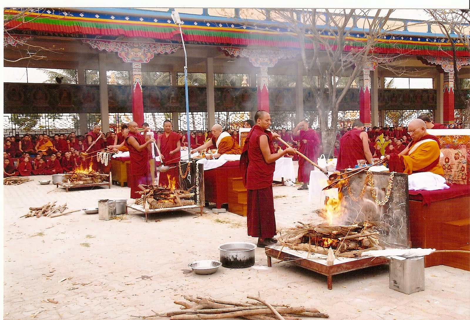 Lama Zopa Rinpoche and high Lamas doing fire pujas at Sera Je Monastery