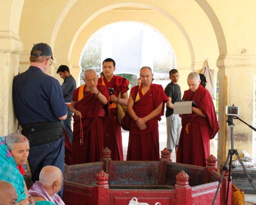 Lama Zopa Rinpoche teaching at Sujata where Buddha practiced the ascetic life for six years, India, March 2015. Photo by Ven. Losang Sherab.