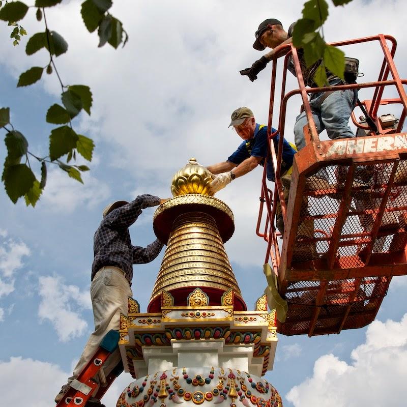 Placing top knot on Kadampa Stupa, Kadampa Center, May 2013
