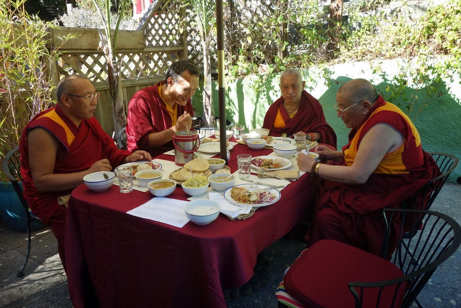 Dagri Rinpoche, Yangsi Rinpoche, Lama Zopa Rinpoche and Geshe Ngawnag Dakpa enjoying lunch offered after long life puja for Lama Zopa Rinpoche at Land of Medicine Buddha Sept. 29, 2013 Photo: Ven. Roger Kunsang