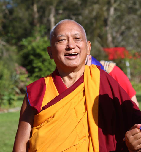 Lama Zopa Rinpoche arriving to consecrate the rebuilt stupa at Mahamudra Centre, New Zealand, May 2015. Photo by Ven. Thubten Kunsang.