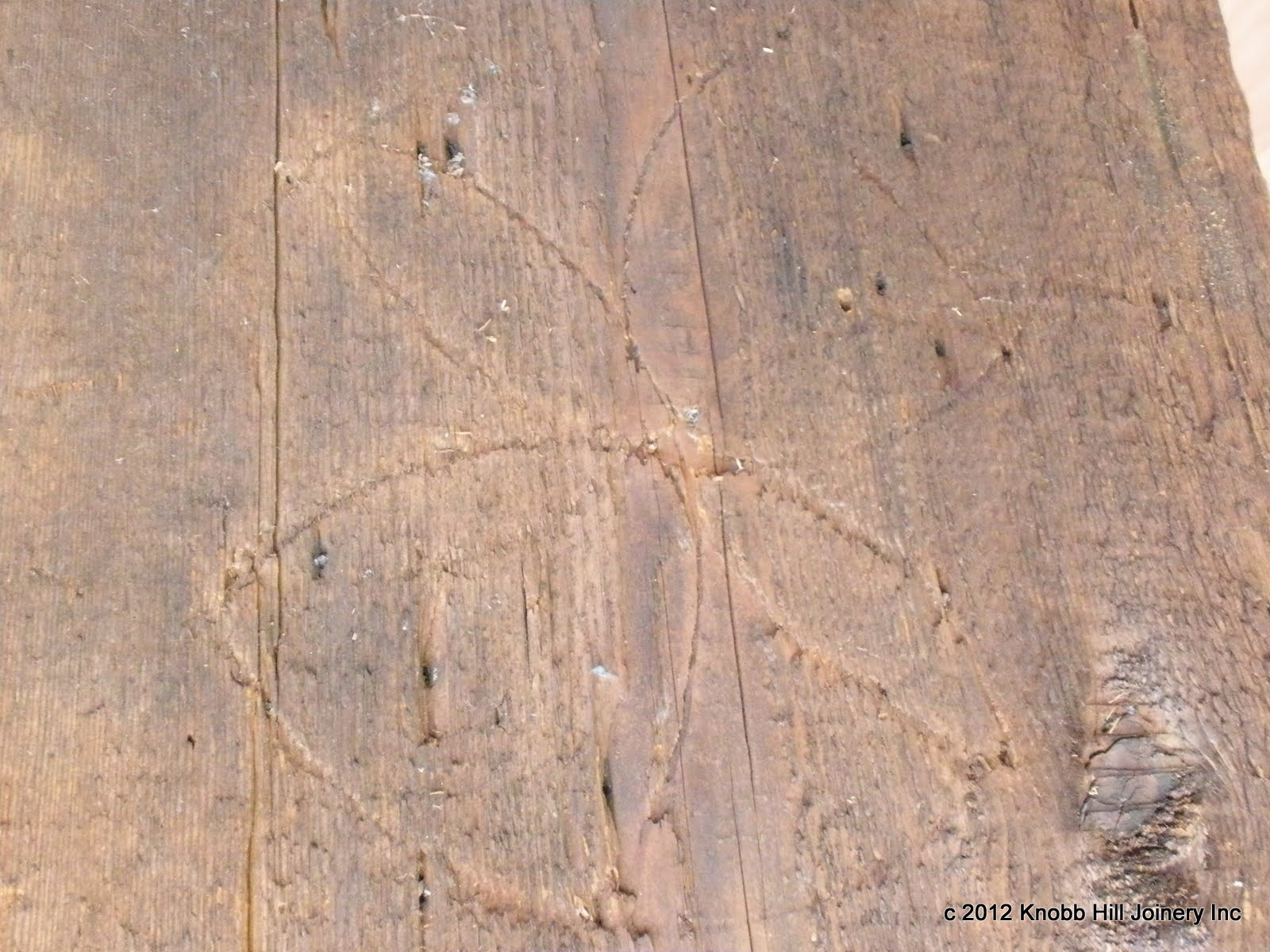 This 'daisy wheel' was discovered in the roof sheathing.