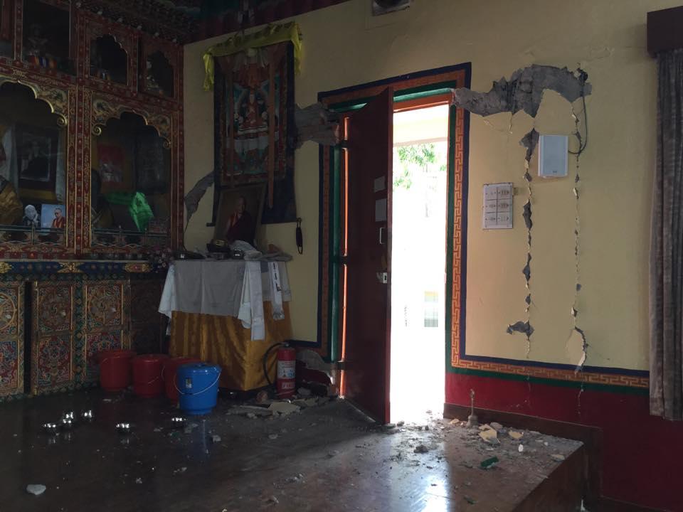 Damage at Kopan. Photo by Ven. Sarah Thresher.