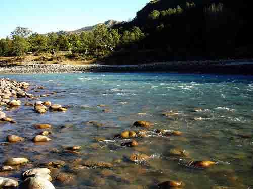 Sutlej river in Tattapani