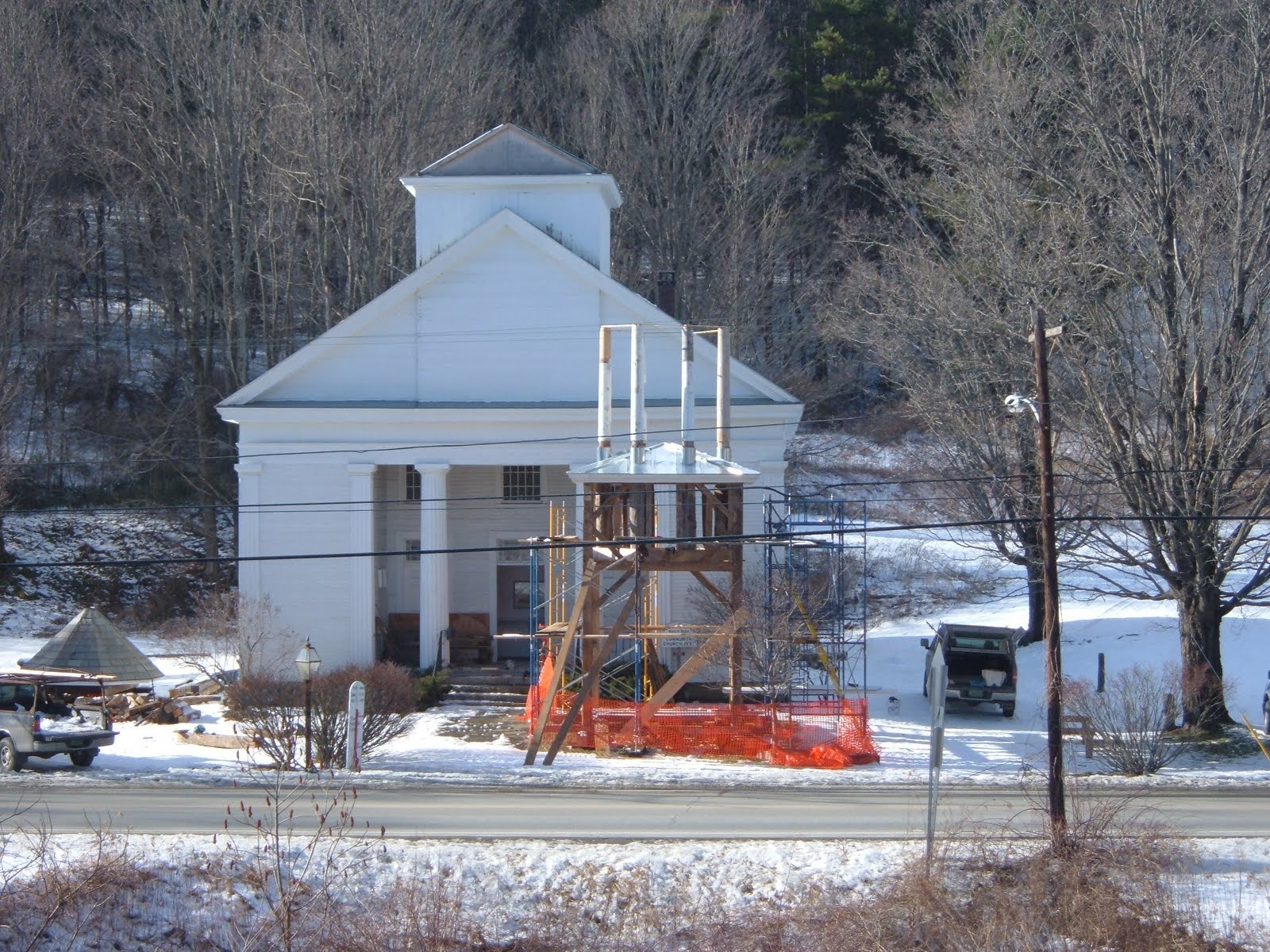 A temporary roof was placed on the lower tower while repairs were done.