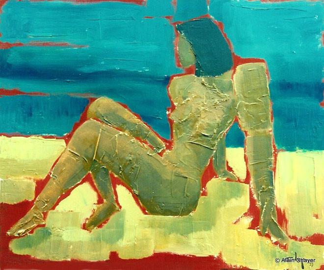 037 - Mademoiselle des Iles - 1993   55 x 46 - Acrylique sur toile
