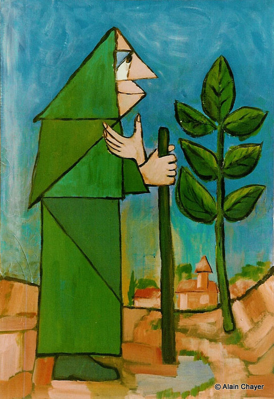 004 - L'Ermite - 1976 100 x 65 - Acrylique sur toile