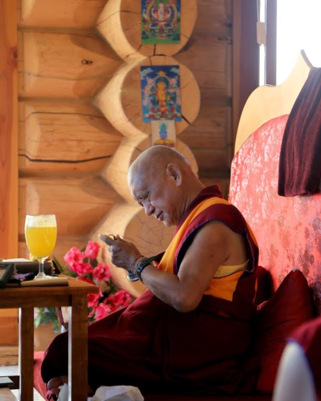 Rinpoche doing prayers, Buddha Amitabha Pure Land, Washington, US, August 2014. Photo by Ven. Thubten Kunsang.