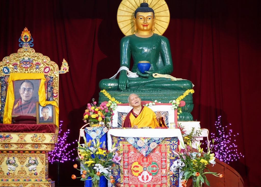Lama Zopa Rinpoche teaching during retreat at Great Stupa of Universal Compassion, Australia, October 2014. Photo by Ven. Roger Kunsang.