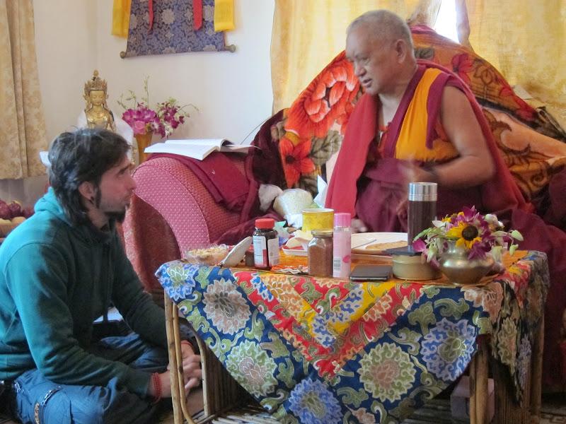 Osel speaking with Lama Zopa Rinpoche in Bodh Gaya Jan 2012