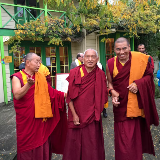 Lama Zopa Rinpoche with Geshe Wangchen and Geshe Tharchin at Chandrakirti Centre, New Zealand, May 2015. Photo by Ven. Roger Kunsang.