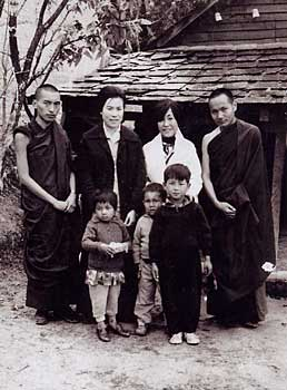 Rinpoche, Lama Yeshe and Jetsun Pema-la (the Dalai Lamas sister) in Mcleod Ganj