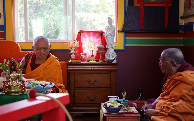 Lama Zopa Rinpoche with Geshe Dakpa, resident Geshe at Tse Chen Ling, at Kachoe Dechen Ling, Aptos, California, May 2014. Photo by Ven. Thubten Kunsang.