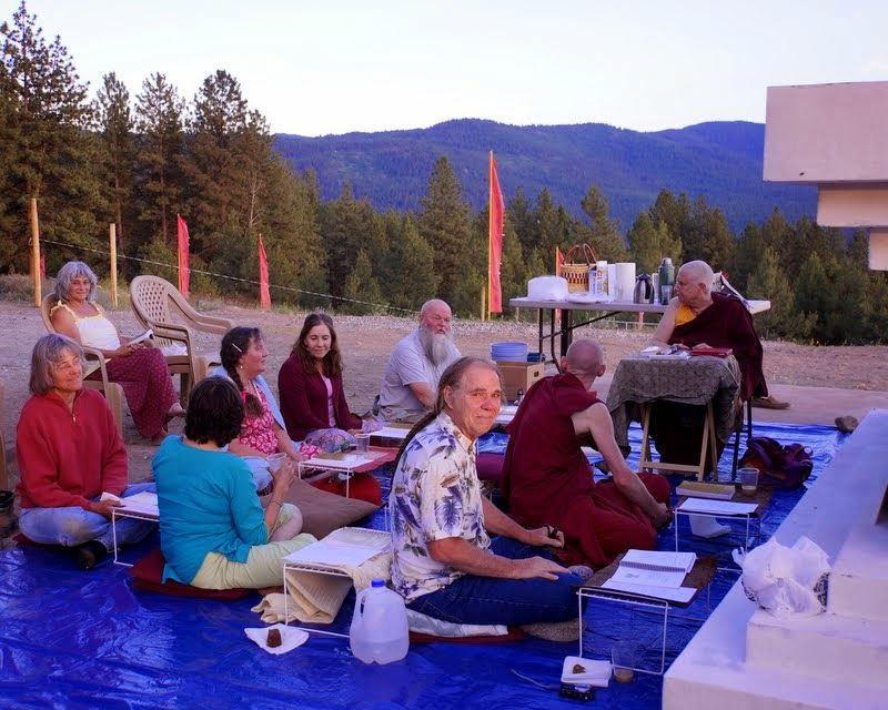 Resident Sangha and students from Pamtingpa Center do practices requested by Rinpoche in front of the newly situated Amitabha Buddha statue, Buddha Amitabha Pure Land, Washington, US, July 1, 2014. Photo by Merry Colony.