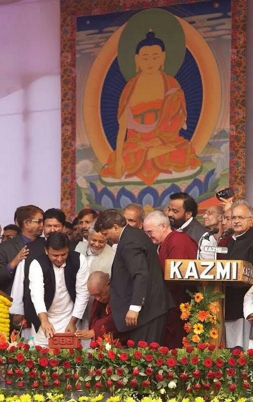Laying the symbolic foundation stone for the Maitreya Project, Kushinagar, India, December 13, 2013. Photo by Rigzin Samphel.