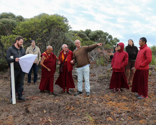 Lama Zopa Rinpoche viewing the site for a group retreat facility at De-Tong Ling Retreat Centre, Kangaroo Island, Australia, May 2015. Photo by Ven. Thubten Kunsang.